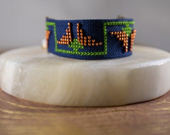 California Poppy - hand embroidered and beaded bracelet