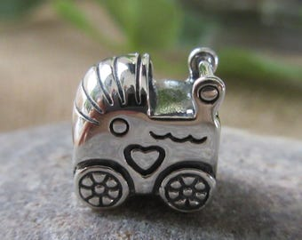 Authentic Pandora Baby Carriage Charm 790346 Free Velvet Pouch Bag