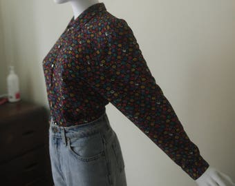 Multicolour Spot Print Blouse Made in England