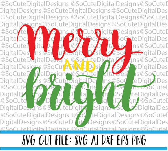 Merry and Bright svg saying merry christmas svg silent night | Etsy