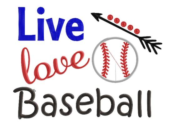 Live Love Baseball Embroidery Design Baseball Embroidery Etsy