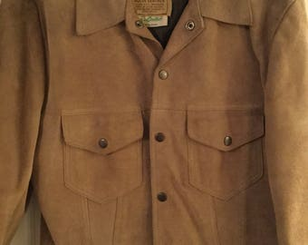 9cd8ba40777 Vintage 1960s Sears Western Wear Leather  Suede Jacket Coat! Size 38..color  Tan and is in Beautiful Retro Condition!