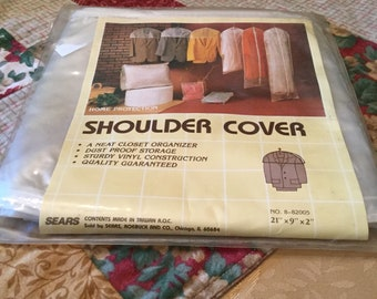 "Vintage 6 sturdy vinyl Shoulder Covers unused still in pack..Sears 21""x9""x2""! Vintage cool and useful!"