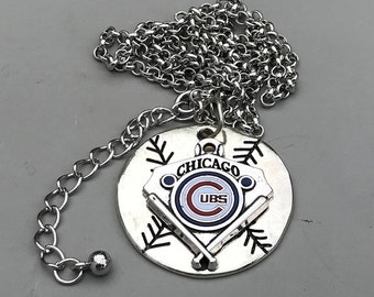 Chicago Cubs Baseball Pendant Necklace,A quality handmade pendant