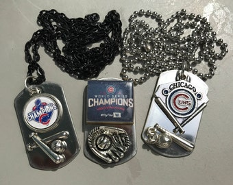 Chicago Cubs Mini Dog Tag Necklace