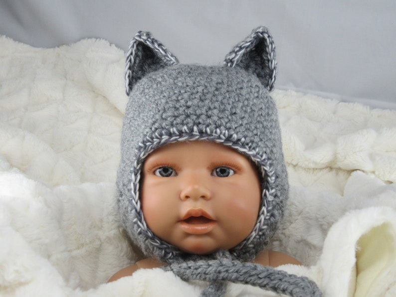 5f902fe705e Baby cap wolf 3D ears wolf cap crochet cap grey baby photo