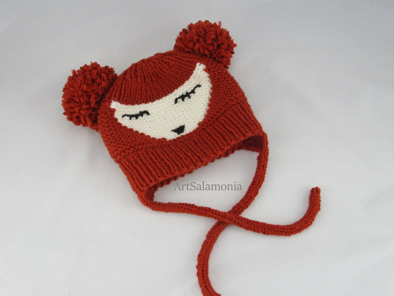Unisex Fox Beanie Kids Animal Hat Knitted Kids Beanie Fox Kids Winter Hat Orange Baby Hat with 2 Bobbles Fox Baby Hat