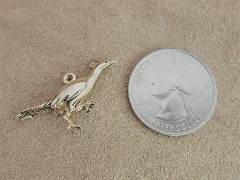 Gold Roadrunner Bird Charm 3D Southwestern Jewelry 14 karat Bird Pendant Lucky Bird Charm Silver Bird Jewelry New Mexico
