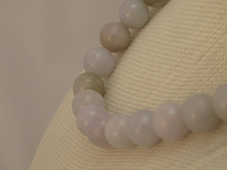 Item 379 Natural Lavender and Green Burmese Jadeite Beaded Necklace