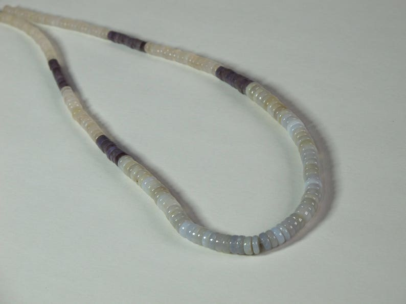 Natural Stone Beads Item 429 Undyed SALE Graduated Small Heishi Chalcedony and Purple Jade Beads