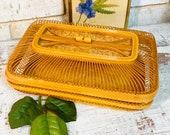 Small Vintage Cane and Rattan Lidded Basket Delicate Cane Ornamental Basket Natural Decor Boho Style Eclectic Decor