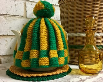 Vintage Green and Gold Tea Cosy with Knitted Trivet