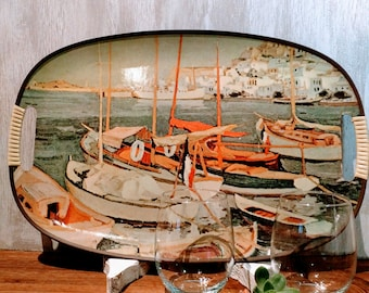 Retro Fishing Boat Harbour Scene Serving Tray