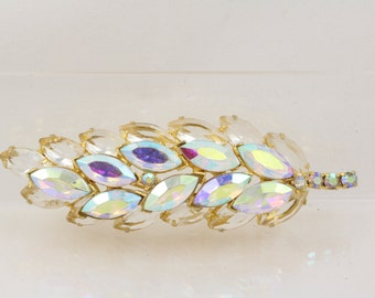 Gorgeous sparkling Vintage Leaf Brooch - Mid-Century Brooch - Layers of Sparkle! Clear and AB navettes