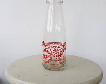 Vintage Milk bottle - Slaithwaite - Advertising Milk Bottle  Frank Sykes, Ainley Place, Slaithwaite