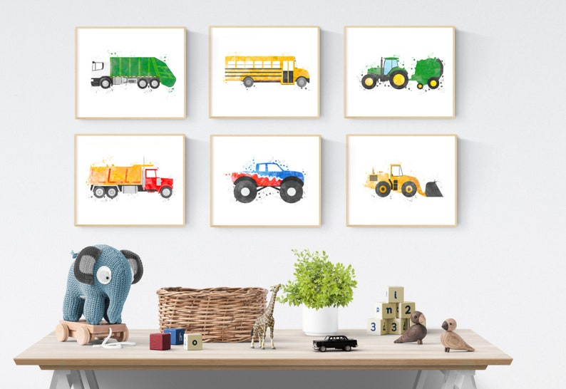 Big Boy Room Prints, Toddler Boys Bedroom, Set of 6 Prints, Transportation  Kids Bundle, Toddler Play Room Decor, Boys Vehicle Prints