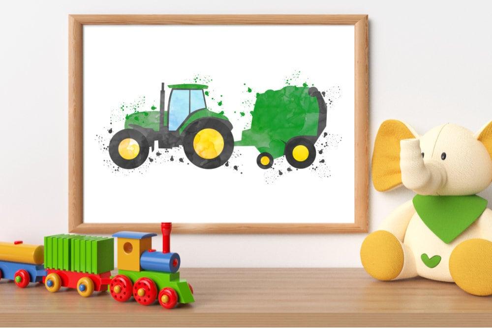 Watercolor Tractor Print Tractor Printable Tractor Wall Art Etsy