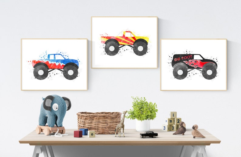 Listing All Trucks >> Monster Trucks Bundle Monster Truck Decor Boy Bedroom Wall Art Cars Set Of 3 Big Boy Room Decor Watercolor Trucks Transportation Room