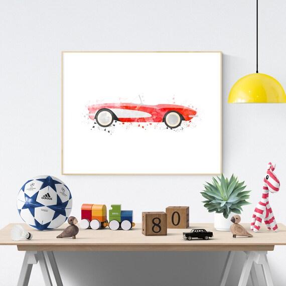 Swell Corvette Print Big Boy Room Art Race Car Decor Vintage Car Nursery Kids Room Wall Art Car Printable Car Wall Art Transportation Art Download Free Architecture Designs Scobabritishbridgeorg