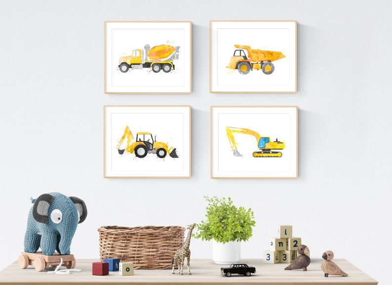 Construction Bedroom Decor Construction Print Set Toddler image 0