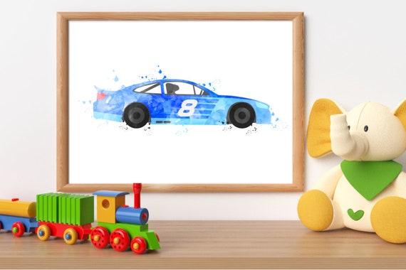 Race car wall art toddler boy room nascar race car party | Etsy