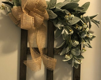 Small Rustic Elegant Wooden Window Frame with Frayed Burlap Bow and Lamb's Ear