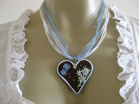 OOAK German handmade heart pendant Edelweiss flowers gingerbread blue white Oktoberfest Dirndl