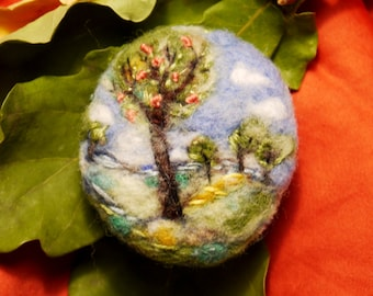 Felted brooch Landscape with trees