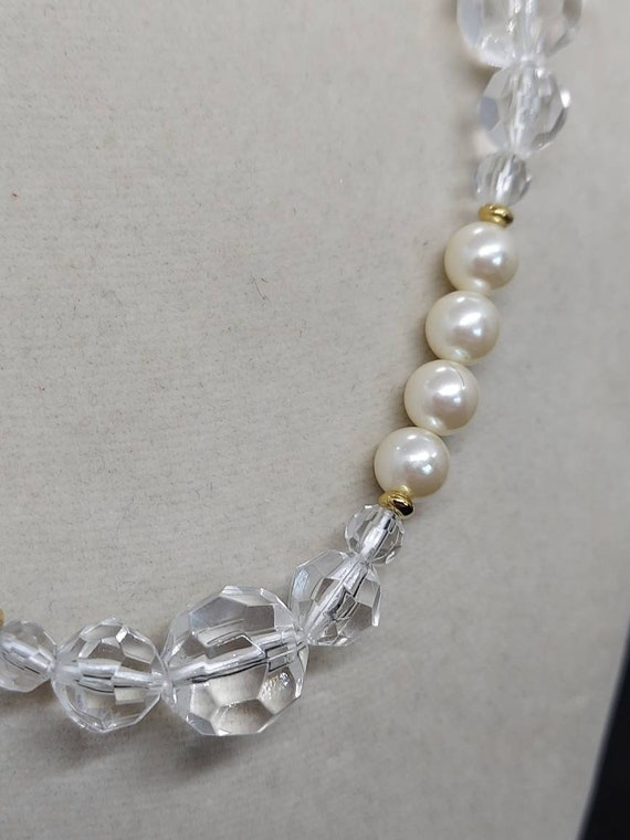 Vintage Marvella pearl and crystal necklace - image 5