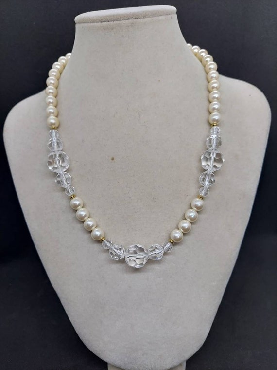 Vintage Marvella pearl and crystal necklace - image 1