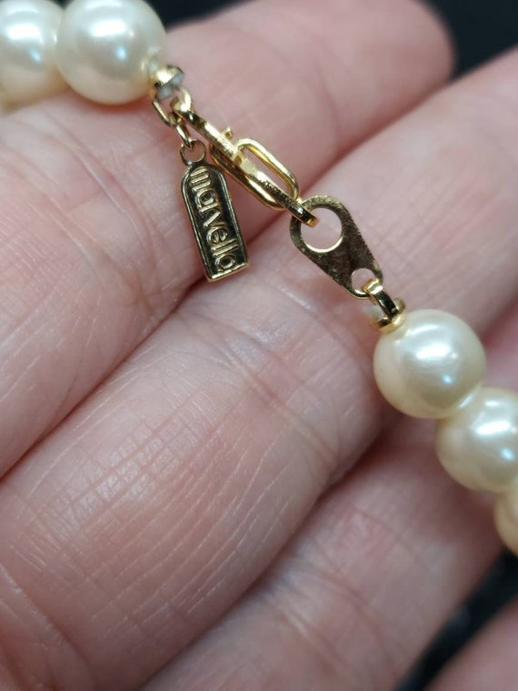 Vintage Marvella pearl and crystal necklace - image 6