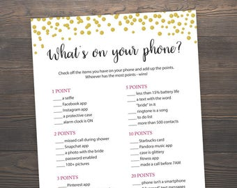 Whats' on your phone, Bridal Shower Games, Printable Shower Games, What's in your phone, Gold Bridal Shower, Gold Confetti, Cell Phone, J001