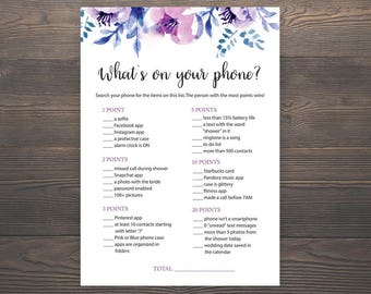 photograph relating to What's in Your Cell Phone Game Free Printable known as Whats upon your cellular phone Bridal Shower Online games Printable Etsy