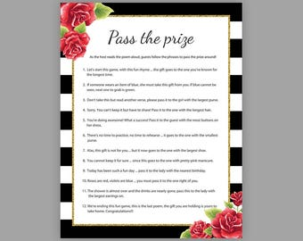 pass the prize bridal shower games pass the parcel game floral bridal shower bachelorette party games rhyme game parcel game j017