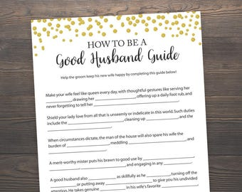 how to be a good husband guide bridal shower games printable good husband guide good husband game gold bridal shower j001