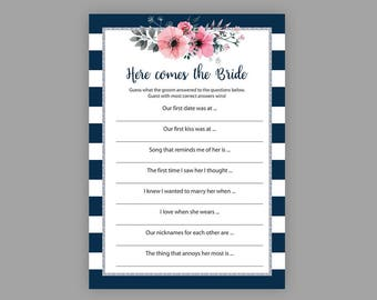 here comes the bride game navy blue silver bridal shower games bachelorette games floral printable games who knows groom best j022