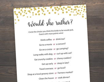 photo regarding Would She Rather Bridal Shower Game Free Printable identified as Would She In its place Bridal Shower Game titles Printable Bridal Etsy