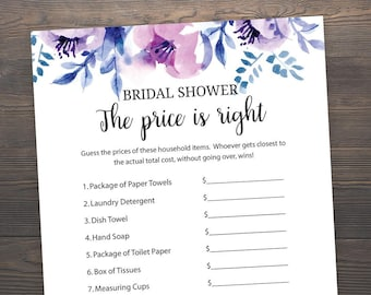 lavender bridal shower games price is right printable bridal shower the price is right game guess the price purple bridal shower j007