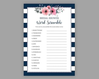 bridal word scramble navy blue silver bridal shower games unscramble shower game floral shower wedding shower games printable j022