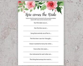 here comes the bride game bridal shower games floral bridal shower bachelorette games printable games who knows groom best j003