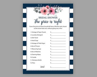 price is right navy blue silver bridal shower games printable navy blue white stripes guess the price floral bridal shower j022