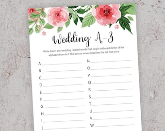 wedding a z game bridal shower games floral bridal shower printable bridal shower bridal alphabet race game a to z shower game j003