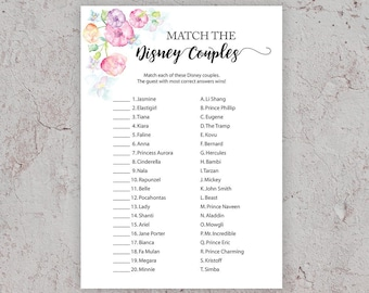 disney couples match bridal shower games pink bridal shower match the disney couples game printable games floral bridal shower j010