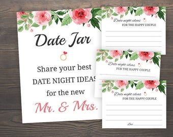 date night ideas for bride and groom floral bridal shower date night ideas for the new mr and mrs date jar sign printable wedding j003
