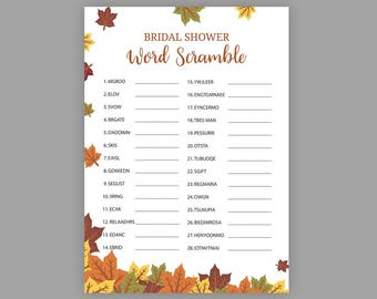fall bridal shower games bridal word scramble unscramble shower game autumn bridal shower wedding shower games printable leaves j016
