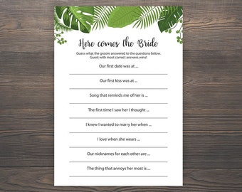here comes the bride game bridal shower games green leaves bridal shower greenery bridal shower printable who knows groom best j004
