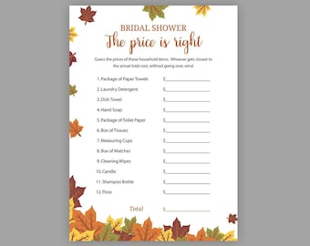 fall bridal shower games price is right printable bridal shower the price is right game guess the price autumn bridal shower j016