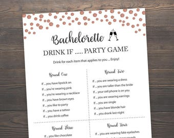 rose gold bridal shower games bachelorette drink if game hens party game rose gold drink if game bachelorette party printable j012