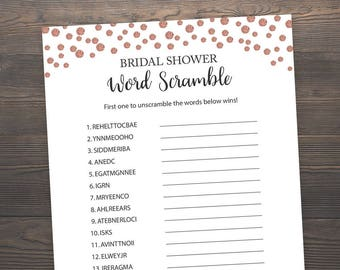 Rose Gold, Word Scramble, Bridal Shower Games, Printable Bridal Shower, Wedding Shower Game, Wedding Word Scramble, Rose Gold Games, J012
