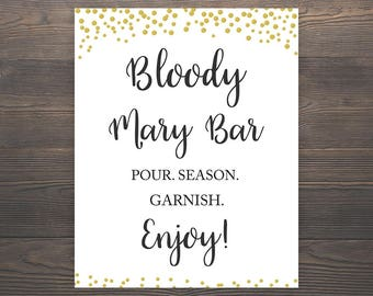 Bloody Mary Bar Sign, Bridal Shower Printable, 8x10 Sign, Wedding Bar Sign, Gold Confetti, Gold Bridal Shower, Bachelorette Party, J001